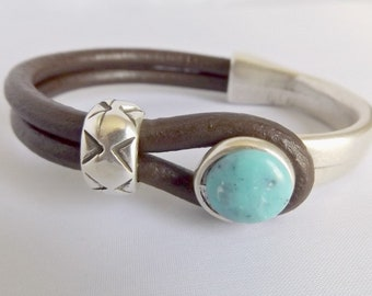 Turquoise jewelry, bracelets for women, leather bracelets, turquoise bracelet, leather bracelet, leather jewelry, turquoise