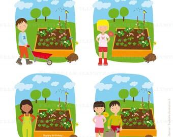 Illustration personalized child's Garden, gardener small custom clipart, gift idea, gift for Grandma or MOM, gift for child