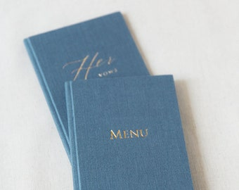 Linen Personalized Vows Books His Her Vows Books Menu Folder Wedding Menu Booklet Wedding Vow Book Holder