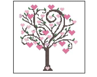 Cute Tree Cross Stitch Pattern, Heart Tree Easy Beginner Cross-Stitch Pattern PDF