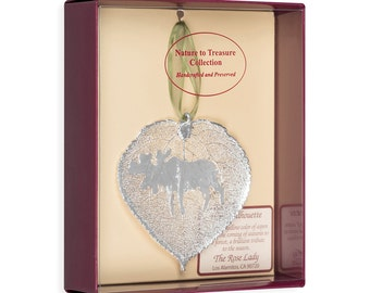 Real Aspen Leaf Dipped In Silver With Moose Silhouette Boxed - Real Dipped Leaves - Christmas Ornaments
