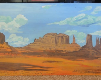 Vintage Red Rocks Painting on Board/ Signed E Howe