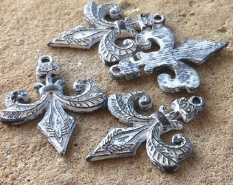 earring connector, fleur de lis handmade shabby white patina charm 4 pcs