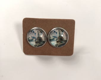 Paris Eiffel Tower france french glass cabochon stud earrings HALF PRICE SALE