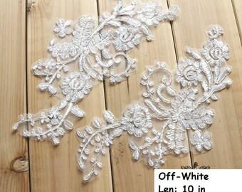 Lace Wedding Dress applique/Lace Applique/Lace Dress/Boho Wedding Dress/Prom Dress/Vintage Dress/Evening Dress/Bridal Applique pair/ALA-81