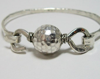 Sterling Silver Artisan Hand Forged Bangle, Handcrafted Sterling Latch Bracelet by Stone and Sterling