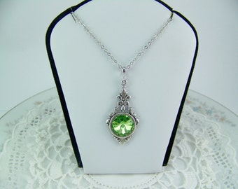 Peridot Necklace, Peridot Rivoli, Swarovski Crystal Peridot, August Birthstone Necklace, Bezel Set Peridot, Green Crystal Necklace, Peridot