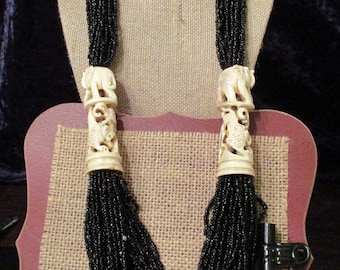 Vintage Carved Bone and Bead Necklace