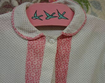 Antique Baby Robe, Gown Cotton Dot Fabric, Double Pink Fabric Trim