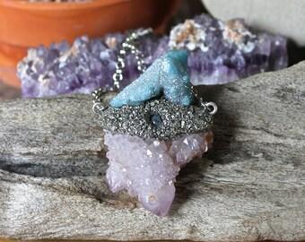 Spirit Quartz Necklace w/ Moonstone - Aqua Aura Fairy Quartz Jewelry - Crystal Necklace - Wiccan Jewelry - Gypsy Jewelry - Festival Fashion