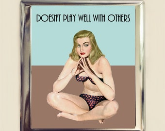 Doesn't Play Well With Others Cigarette Case Business Card ID Holder Wallet Pinup Girl Pin Up Funny Retro