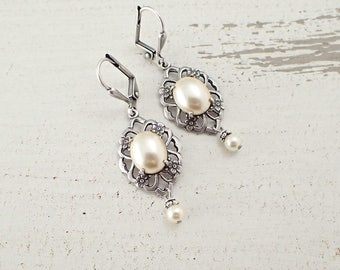 Ivory Pearl Cabochon Lever Back Earrings with Antiqued Silver Filigree and Swarovski Pearls
