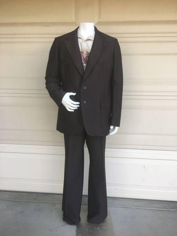 Vintage Men's 60s 70s Western Suit Brown Striped by H Bar C Ranchwear Deadstock Pants 42 Long UijU5kNN