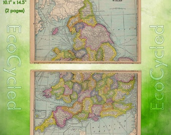 Vintage atlas map 1960 north america national geographic map vintage atlas map 1920 england wales antique map full color world atlas british map paper gumiabroncs Choice Image