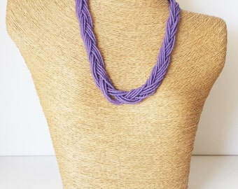 Purple necklace, lilac necklace, statement necklace, wedding necklace,multistrand,beaded necklace, bridesmaid necklace,violet necklace,gift