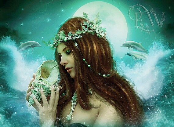 fantasy mermaid with dolphins portrait art print