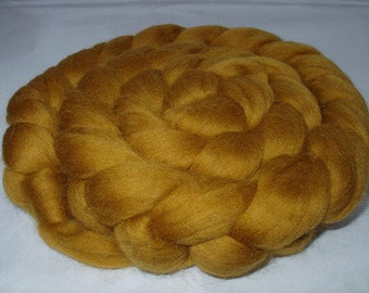 Wool roving, merino wool roving, spinning fiber, felting wool, dolls hair, dread wool, merino wool tops, wool hair, 20mic, OCRE, 3.5oz, 100g