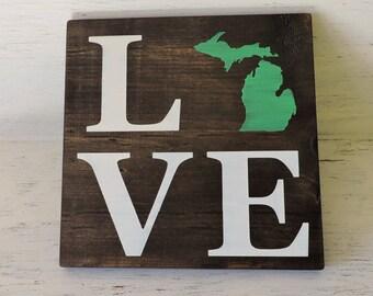"""Pick State, Pick colors, Custom, Wooden Love Sign, Michigan, U of M, Michigan State, 11.25""""x11.25"""""""