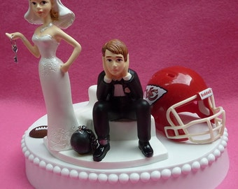Wedding Cake Topper Kansas City Chiefs KC Football Themed Ball and Chain Key w/ Garter Bride and Groom Pro Sports Fans Marriage Funny Humor