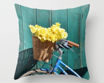 Photo Pillow Cover Decorative Bicycle Pillow Teal Pillow Cover
