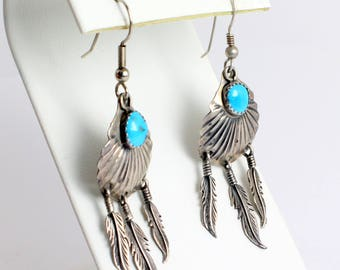Native American Style Silver Feather and Turquoise Earrings with Feathers Dangling from Sterling Silver Fans with Bright Blue Turquoise