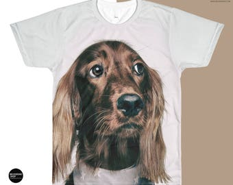 Picture on Shirt - Personalized All-Over Printed T-Shirt - Men's Custom Sublimation T-Shirt - custom dog picture shirt