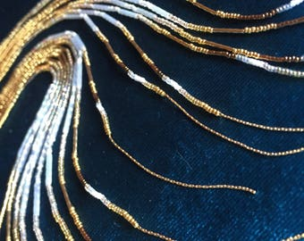"""Maui Swan """"Golden Iridescence"""" 24k & 14k Gold-filled Glass Seed Bead Earrings with 1mm gold chain fringe"""