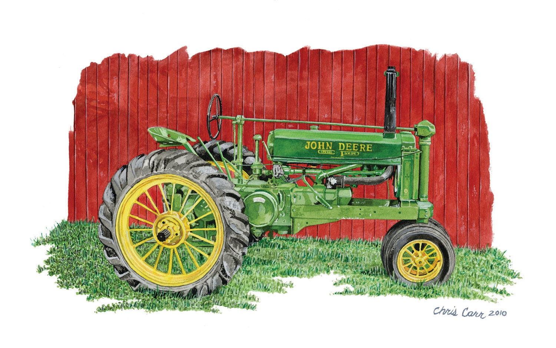 Jd Tractor Paint : Old johnnie john deere tractor art print watercolor