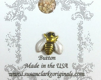 Bee Button - Hand Painted - for Quilting, Crafters, Scrapbooks, Needlecrafts - Item #201
