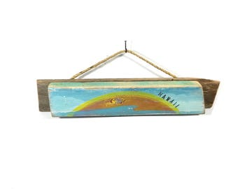 Personalize This Original Art Item-Hawaii Sunrise Sunset Handmade on Reclaimed Wood Beach Kids Room Beach Nursery Coastal Wall Art Mangoseed