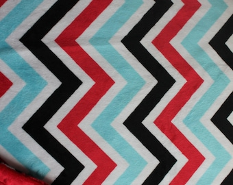 Minky Blanket Red, Turquoise, Black and White Chevron Print Minky with Red Dimple Dot Minky Backing - Perfect Size for baby, stroller