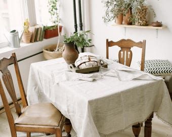 Linen tablecloth Rustic wedding table Custom tablecloth Natural tablecloth Table top Wedding tablecloth Lace tablecloth Rustic tablecloth