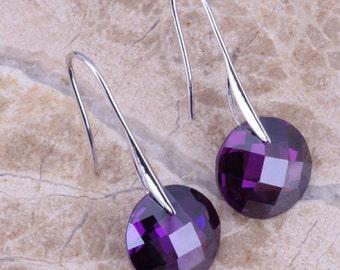 Round Purple Amethyst Drop Earrings