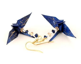 Believe Kanji on Midnight Blue Origami Crane Earrings, Gold Plated Earring Hooks Jewelry