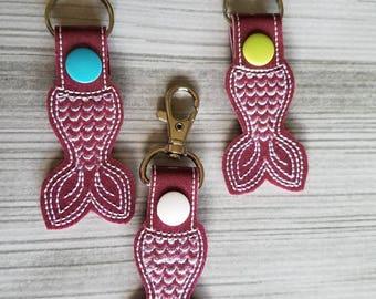Purple Sparkle Mermaid Tail Keychain