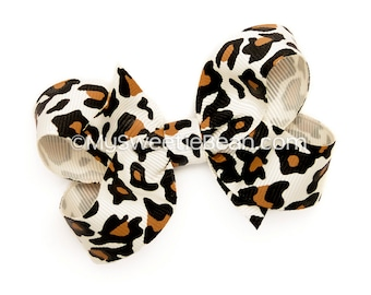 Leopard Hair Bow, Animal Print Hairbow, 3 inch Boutique Bow, Medium Bow, Basic Hair Bow, Grosgrain Hairbows for Toddlers Baby Girls