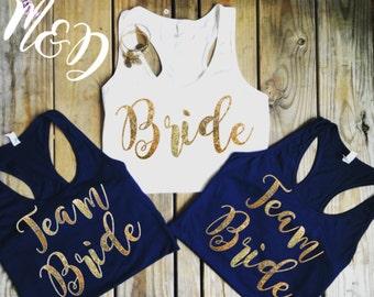 Team Bride Tank Top Set - Glitter Bridal Party Shirts - Bachelorette Party Tank Tops - Black and White Racerback Bachelorette Shirts