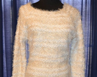 Hand Knitted White/Ivory Size Small Winter Sequins Sweater