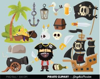 Pirate clip art Pirate ship clipart Treasure Nautical Anchor Flag Pirates clipart Treasure clipart  Skull Flag Bunting Pirate party clip art