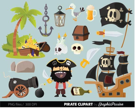 pirate clip art pirate ship clipart treasure nautical anchor rh etsy com Pirate Clip Art Original Pirate Flags