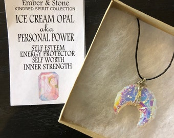 Ice Cream Opal Moon Necklace