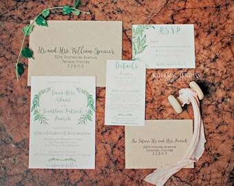 Greenery Wedding Invitations, Rustic Wedding, Wreath Invitations, Spring Wedding Invites, Recycled Kraft