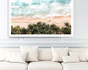 Coastal Prints, Coastal Wall Art, Coastal Photography, Palm Tree Print|Ocean Wall Art,  Aerial Beach, Ocean Print, Ocean Waves, Tropical Art