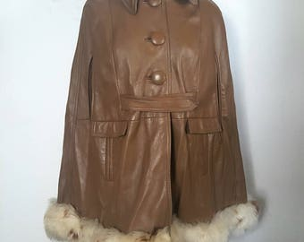 Sheep Shearling Fur and Brown Leather Poncho / bohemian jacket coat / S-M