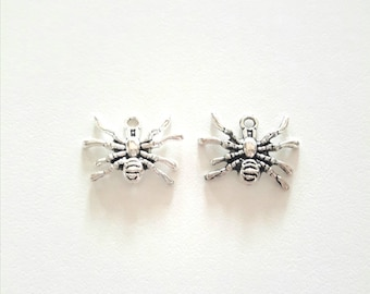 2 antique silver metal spider charms