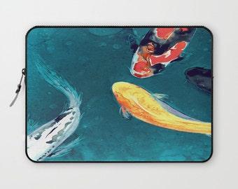 Koi Macbook Pro Laptop Case - Artistic Printed Fabric Laptop Sleeve - Koi Fish Painting