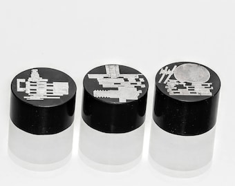 Silver and Black Cylinders - Curios