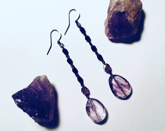 Amethyst Drop Earrings with Rosary Chain