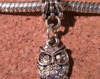 Pearl Libra pendant Shamballa European-transparent-OWL - 26 mm - D89