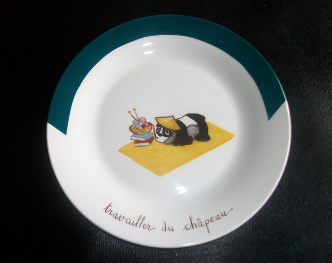plate / cheese / humorous /peint hand on porcelain / french craft